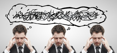open minded: Three businessmen with confusing tangle of thoughts. Thinking men. Conceptual image of a open minded men. On a gray background Stock Photo