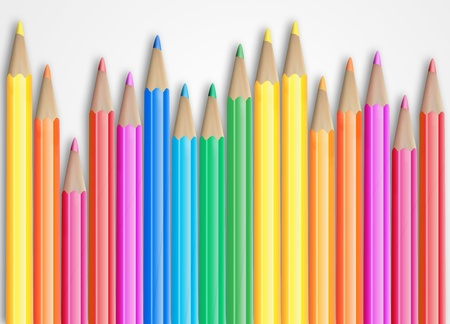 Set of coloured pencils with shadow on white background  photo