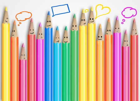 emotion faces: Group of coloured smiling pencils with social chat sign and speech bubbles .