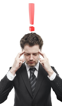 Portrait of a young man with red exclamation mark above his head. Conceptual image of a open minded man.  photo