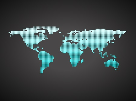 Blue business world map with countries borders. On a black background photo