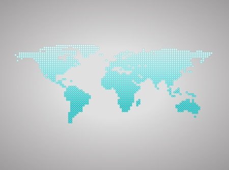 Blue business world map with countries borders. On a gray background photo