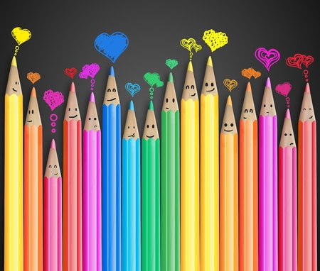 feelings of happiness: Group of coloured smiling pencils with love heart speech bubbles and social chat sign. Set of coloured pencils representing a social network  Stock Photo