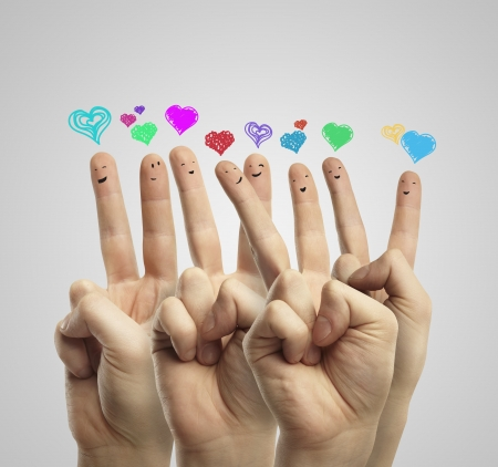 amour: Group of happy finger smileys with love heart speech bubbles and social chat sign.