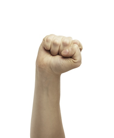 revolt:  Male hand in fist isolated on white background. Clenched fist hand closeup. Victory, revolt concept.
