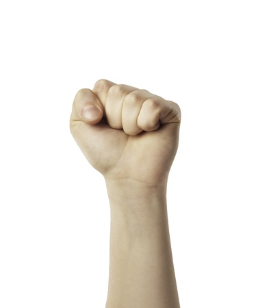 closed fist sign: Male hand in fist isolated on white background. Clenched fist hand closeup. Victory, revolt concept.