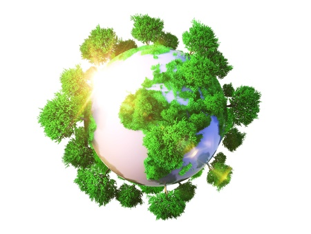 eco concept: Model of Earth with oversized trees  Miniature planet with sparse leafy tree vegetation  Conceptual symbol of the Earth