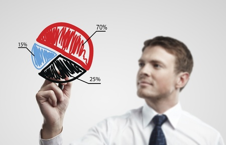coming up with: Young business man drawing a colorful pie chart graph with percentages on a glass window in an office - focus is on graph  Man coming up with an idea on a glass screen with black marker  On a gray background Stock Photo