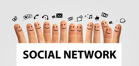 Happy group of finger smileys, concept of social network photo