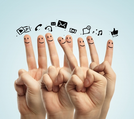 warmth: icons social network and happy group of finger smileys Stock Photo