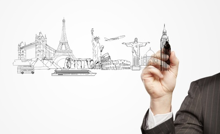 hand businessman draws a architectural buildings Stock Photo - 13999362