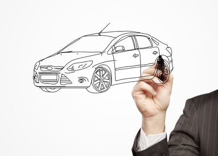 hand businessman draws a model car photo