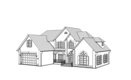 house render: two-storey cottage on a white background. monochrome Stock Photo