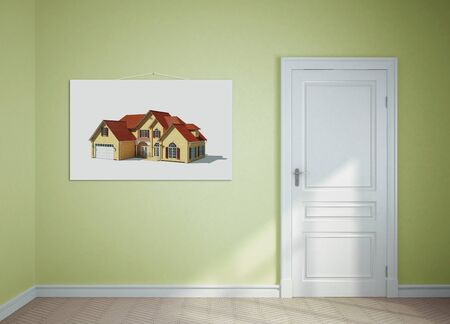 3d image: room with a white door and picture on the wall at home Stock Photo