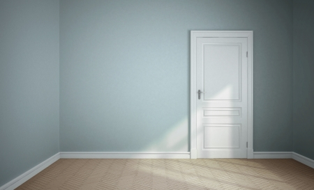 empty blue room with white door
