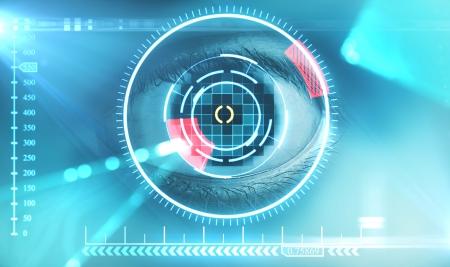 biometrics: laser scanning eye. blue tone