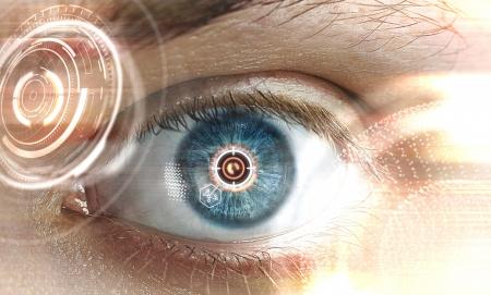 biometrics: laser scanning eye, close up