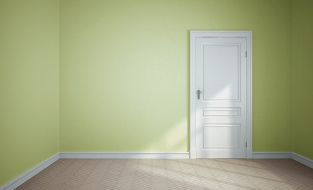 empty room and white door photo