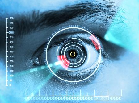 Laser-Scanning-Auge. Blauton Standard-Bild - 14043452