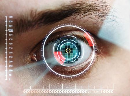 scan mans eye for identification Stock Photo