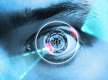laser scanning eye. blue tone photo
