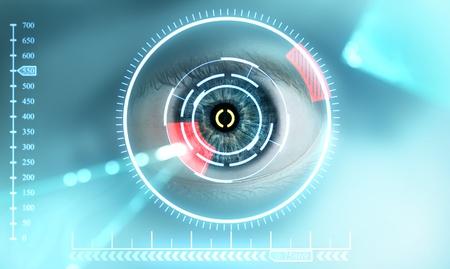 Tecnología de exploración del hombre de los ojos de la seguridad Foto de archivo