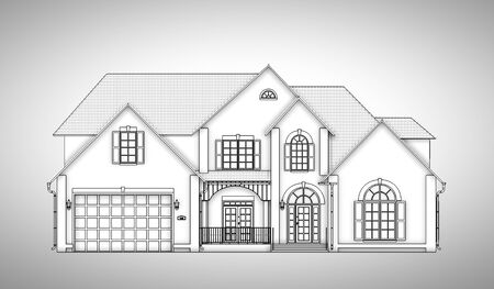 house drawing: monochrome  two-storey house, front view Stock Photo