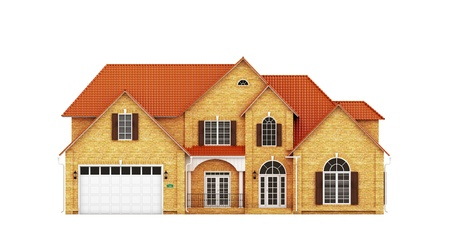 yellow roof: Yellow brick house with red roof, front view