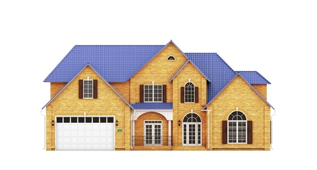 yellow roof: Yellow brick house with blue roof, front view