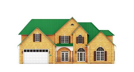yellow roof: Yellow brick house with green roof, front view