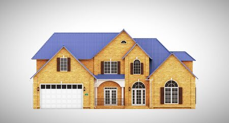 yellow roof: Yellow brick cottage with blue roof, front view Stock Photo