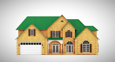 yellow roof: Yellow brick cottage with green roof, front view