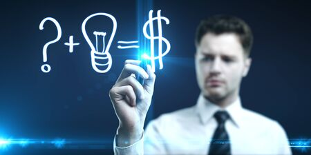 man drawing concept of making money Stock Photo - 14050675