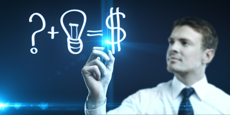man drawing concept of making money photo