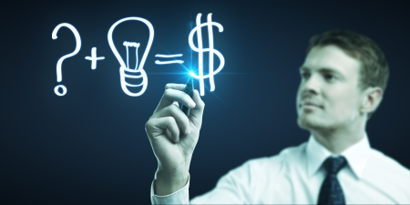 man drawing formula for making money Stock Photo - 14050676
