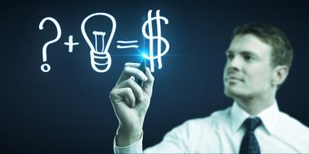 man tekening formule om geld te verdienen