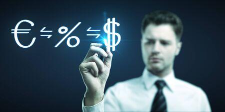 man drawing formula for making money photo