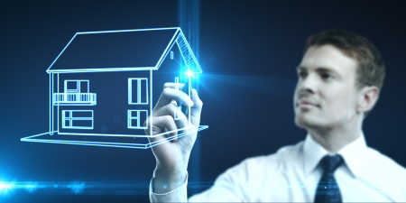 businessman draws house picture, concept  real estate Stock Photo - 14063998
