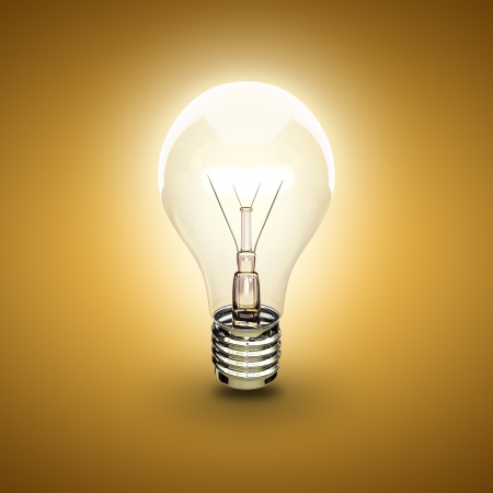 light bulb on a orange background Stock Photo