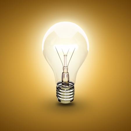 electric bulb: light bulb on a orange background Stock Photo