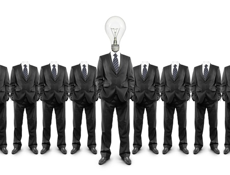 group of businessmen with a lightbulb in  head photo