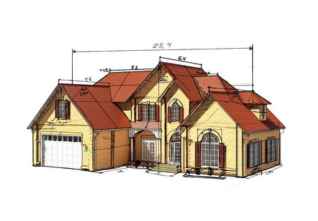 two storey house: sketch brick house with a red roof