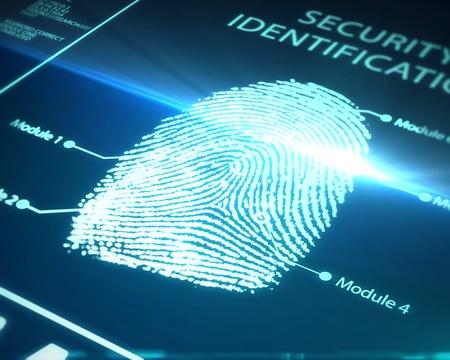 identitat: Fingerabdruck-Identifikation auf einem blauen Hintergrund Lizenzfreie Bilder