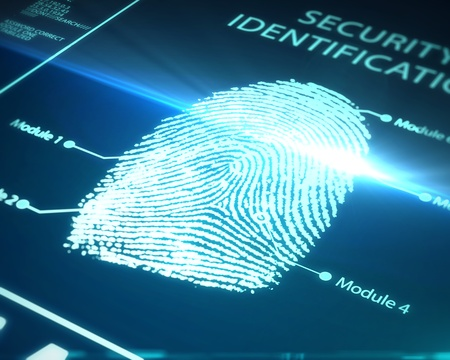 fingerprint identification on a blue background Stock Photo - 14062739
