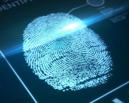 empreinte du pouce: identification des empreintes digitales sur un fond bleu