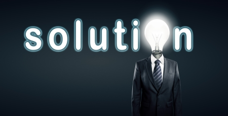 lamp head businessman and  word solution Stock Photo - 14060346