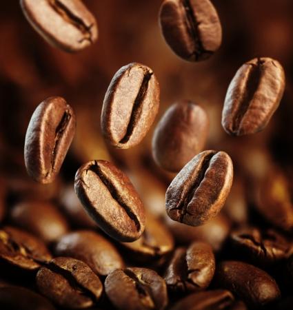 large bean: fall fresh coffee beans background