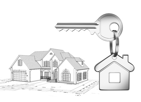 grey house: House keys with keychain on a white background