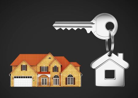 House keys with key chain on a black background Stock Photo