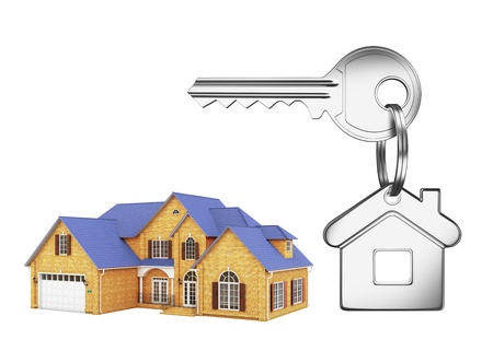 cottage and key on a white background photo